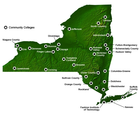 Map of SUNY colleges
